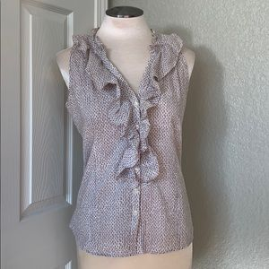 Anne Taylor Ruffled Sleeveless Patterned Blouse